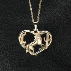 14Kt Gold & Pink Diamond Horse Pendant w/18 by DonnaPizarroDesigns