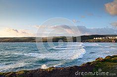 Sunset over Polzeath beach North Cornwall s