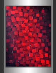 Abstract Red Black Geometric Painting 18x24 Textured by ZarasShop