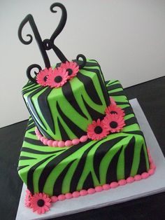 Lime Green Zebra Print Cake square and round iced in b/c with fondant accents. Hand formed initial with gumpaste. Girly Cakes, Fancy Cakes, Cute Cakes, Beautiful Cakes, Amazing Cakes, Zebra Print Cakes, Zebra Cakes, Birthday Cake Girls, Birthday Cakes