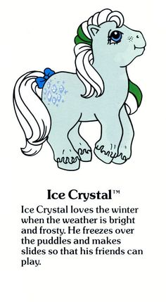 My Little Pony Fact File: Ice Crystal Elaine Crane. Original My Little Pony, My Little Pony Unicorn, Vintage My Little Pony, My Lil Pony, Little Poney, Ice Crystals, Favorite Cartoon Character, My Little Pony Friendship, Cultura Pop