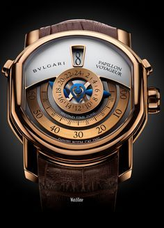 The new Daniel Roth Papillon Voyageur for Bulgari features two time zones that are read off centrally. The new Daniel Roth Papillon Voyageur Men's Watches, Cool Watches, Bvlgari Watches, Unique Watches, Panerai Watches, Modern Watches, Stylish Watches, Pocket Watches, Casual Watches