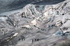 Gletsch, Switzerland: The Rhone glacier is covered in blankets near the Furkapass to prevent it from melting. 6-2017 Photograph: Urs Flueeler/EPA