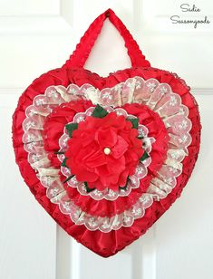 A Valentine s Wreath from an Upcycled Heart Shaped Chocolate Box A Valentine s Wreath from an Upcycled Heart Shaped Chocolate Box Sadie Seasongoods sarahwpb Sadie Seasongoods Projects Want a 5 minute nbsp hellip box red Diy Valentines Day Wreath, Valentine Box, Valentines Day Decorations, Valentine Day Crafts, Vintage Valentines, Valentine Ideas, Valentine Chocolate, Chocolate Hearts, Chocolate Chocolate