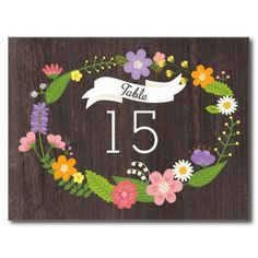 Rustic Whimsical Woodland Wreath Table Number Postcard