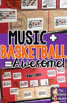 This music and basketball bulletin board is sure to be a slam dunk in your music classroom.  Students will practice reading treble pitches by reading the balls on the lines and spaces.  Add your school colors for even more appeal!