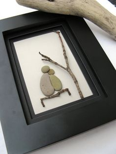 Framed beach stone couple on bench - Stone Art - Wedding - Anniversary - Just Because -Gift