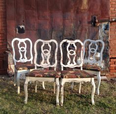 Set of 1930's dining chairs uniquely distressed in American Paint Company Navajo White.