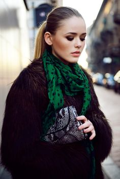 emerald green scarf with fur coat