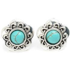 Ginasy Small Flowers Turquoise Stud Earring
