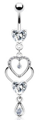"""14g Clear Gem Dangling Heart Sexy Belly Button Navel Ring Body Jewelry Piercing Dangle with Clear Gems and Surgical Steel Bar 14 Gauge 3/8"""" Nemesis Body JewelryTM by Nemesis Body JewelryTM - Belly Button Rings, http://www.amazon.com/dp/B0069A9UGA/ref=cm_sw_r_pi_dp_fCejrb1RCVS64"""