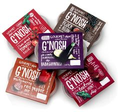 G'nosh dips packaging by Mystery