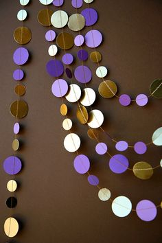 Birthday Decoration Party Decor Bridal Shower Purple Gold Shimmer Garland Paper KMCG 8502