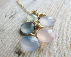 Gem Necklace Wire Wrapped Stones Goldfilled Gold Jewelry Pastel Chalcedony Briolettes Minimalist Modern Fresh Fashion