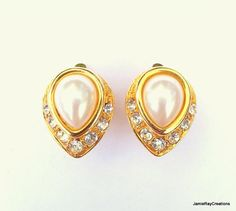 Vintage Marvella Clip On Earrings - Faux Pearl and Rhinestone in Gold Plated Metal Upside Down Teardrops by JamieRayCreations, $14.50 https://www.etsy.com/listing/190277740