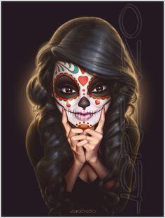 Really good artwork! Dia De Los Muertos by LorenzoDiMauro on deviantART Los Muertos Tattoo, Catrina Tattoo, Candy Skulls, Sugar Skulls, Sugar Skull Artwork, Totenkopf Tattoos, Day Of The Dead Skull, Day Of The Dead Artwork, Bild Tattoos