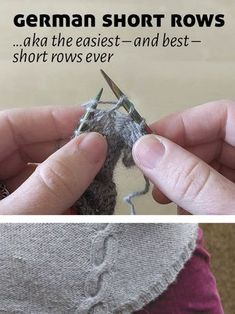 German Short Rows — need to learn! German Short Rows — need to learn! Knitting Short Rows, Knitting Help, Vogue Knitting, Loom Knitting, Knitting Stitches, Knitting Designs, Knitting Socks, Knitting Projects, Hand Knitting