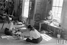 photos taken by Wallace Kirkland for Life magazine. the photo essay shows scenes from a summer art school in 1948 Miss Moss, Finishing School, Life Magazine, Magazine Photos, School Photos, Artist Life, Photo Essay, Life Photo, Summer Art