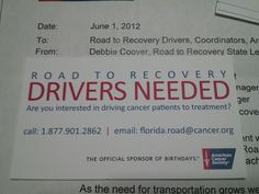 Become a Road Warrior for a Cause!  Road to Recover Drivers NEEDED.  Please Volunteer with your local American Cancer Society Office Today or visit http://www.Cancer.org for info.