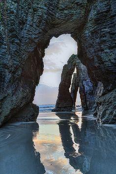 Playa de las catedrales de la fotografía de viajes