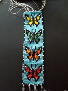 Indian Butterfly Bead loom Bracelet /wall art/ bookmark