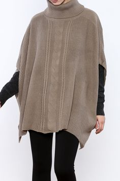 Cable knit turtleneck poncho sweater with stitched sides.  Turtleneck Poncho Sweater by Black Swan. Clothing - Sweaters - Turtleneck Clothing - Sweaters - Ponchos & Capes Michigan