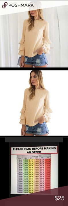 "Cream feathered sleeved blouse COMING SOON ‼️ A fun flirty top in a variety of colors. Round neckline, straight hemline,and ruffled full length sleeves. Please read measurements compare to size. Large -  Bust 37"", Length 23 5/8"". Check my closet for black and blush in same size. 043020176222469 Tops Blouses"