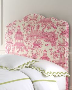 toile headboard in pink .... This would actually be really easy to make as a lip cover for a headboard, to change it up a bit!