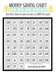 Money Saving Chart to Save $1,000 This Year