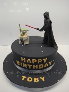 Star Wars birthday cake, with handmade sugar Darth Vader and Yoda figures (poetic licence with figures, as those characters never fought each other)