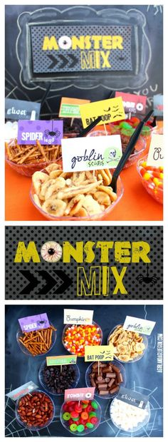 Non-Candy Halloween Snacks and Treats Ideas and Recipes - Monster Trail Mix Bar with healhier snack options and free printables via A Girl and a Glue Gun Halloween Snacks, Halloween Birthday, Holidays Halloween, Halloween Diy, Halloween Trail Mix Recipe, Halloween Buffet, Birthday Parties, Halloween Carnival, Halloween