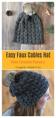 Anyone would look toasty and stylish wearing a Faux Cable Knit Crochet Hat. This Easy Faux Cables Hat Free Crochet Pattern is so easy and fun to make. Bonnet Crochet, Crochet Beanie Pattern, Easy Crochet Patterns, Diy Crochet, Crochet Ideas, Quick Crochet, Hat Patterns, Crochet Projects, Motifs Beanie
