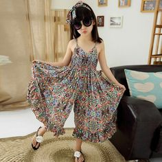 European Style Children & Young Adults Bohemian Sundress Girls Summer Floral Cool Wide Leg Pants Kids Jumpsuit 2 Colors Years Another beautiful beach jumpsuit products Material: Cotton Color: blue/o Frocks For Girls, Kids Frocks, Kids Outfits Girls, Little Girl Dresses, Girl Outfits, Girls Dresses, Dress Girl, Beach Dresses, Maxi Dresses