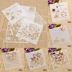Plastic Layering Stencils Template Diy Painting Tool Flower Wave Mould Mold 1Pc