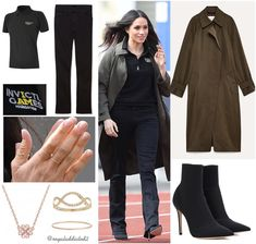 Meghan Markle Style! Coat: Babaton ($245); Polo: Invictus Games Foundation ($59,99); Jeans: Mother Denim ($196); Boots: Gianvito Rossi (?); Jewels: Catbird ($44) rings Vanessa Tugendhaft Jewelry ring (€1,290) and necklace (€880) . ) Prince Harry And Megan, Meghan Markle Prince Harry, Harry And Meghan, Meghan Markle Ring, Meghan Markle Style, Princess Meghan, Royal Dresses, Royal Fashion, Duke And Duchess