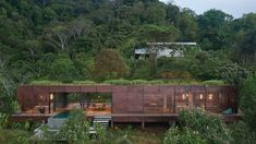 Green roof and charred wood blend Atelier Villa into Costa Rican jungle Contemporary Architecture, Architecture Design, Residential Architecture, Ancient Architecture, Sustainable Architecture, Amazing Architecture, Landscape Architecture, Villas, Costa Rica