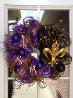 New Orleans Saints LSU House Divided Deco by SouthernSwagNWreath, $65.00