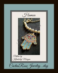 Miriam's Garden Hamsa The hamsa hand is known by many names including, hamsa hand, hamesh, hamesh hand, khamsa, and chamsa. It is also called the Hand of Miriam, named for Moses and Aaron's sister. Believed to offer its owner happiness, peace, and prosperity, as well as protection from the ayin ha'ra, or the evil eye. Hamsas can be worn with the fingers pointing up or down. The pattern, graph in color, for this beautiful Hamsa is available on my Etsy shop...CactusRoseJewelry