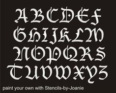 STENCIL Blackletter Gothic Font Alphabet 2 Capital Letter Set Country Prim Sign
