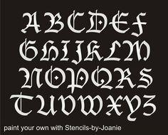 stencil blackletter gothic font alphabet 2 capital letter set country prim sign