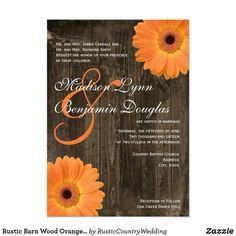 Rustic Barn Wood Orange Daisy Wedding Invitations