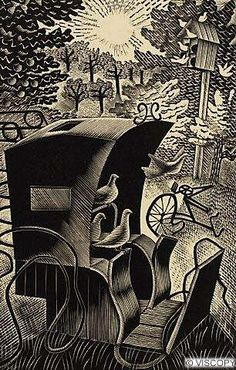 Eric Ravilious wood engraving for the Hansom Cab and the Pigeons by L A G Strong Linocut Prints, Art Prints, Block Prints, Woodcut Art, Royal College Of Art, Ceramic Design, Wood Engraving, Gravure, Woodblock Print