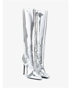 BALENCIAGA Metallic Patent Leather Knee-High Boots. #balenciaga #shoes #boots