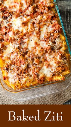 Baked Ziti! Pasta with sausage, tomato sauce and loaded with cheese. So EASY and so good, perfect for a family meal!! On SimplyRecipes.com