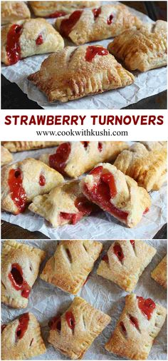 Strawberry Turnovers are quick and easy to make pastries, with delicious sweet and tart filling on the inside, crispy and flaky texture on the outside.  #dessert #snack #appetizer #starwberry #bake #thebakefeed #nomnom #Bhgfood #buzzfeedfood #Feedfeed