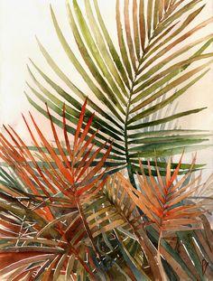 Arecaceae - household jungle by Zawij on DeviantArt Watercolor Flowers, Watercolor Art, Image Deco, Creative Wall Decor, Nature Illustration, Tropical Art, Leaf Art, Cool Paintings, Artwork Design