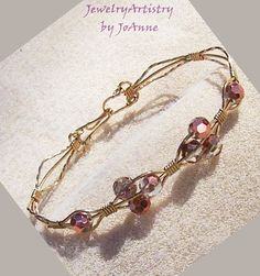Pink Bead Bracelet  Luster Faceted in Gold by JewelryArtistry, $35.00