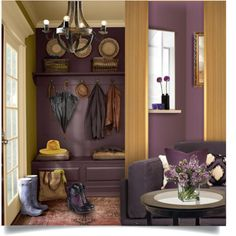 Eggplant & Mustard by passion-fashion-2 on Polyvore featuring interior, interiors, interior design, home, home decor, interior decorating, Allstate Floral, Kravet, Brewster Home Fashions and Mercana