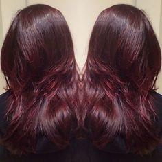 plum violet blending into a cherry cola ombre