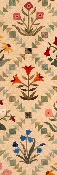 Blog — The Rabbit Factory...flying geese and squares make up this simple pieced sashing! What a lovely way to set your appliqué blocks!
